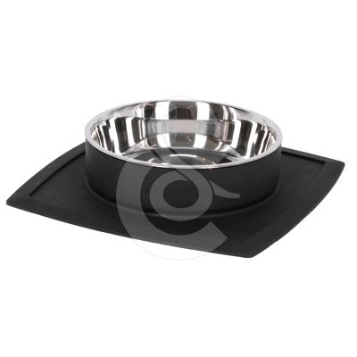 Gamelle Clever inox sur tapis en silicone noir