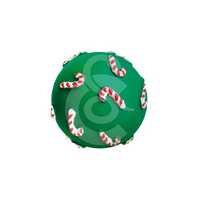 Jouet Noël chien : Balle sucre d'orge en vinyl