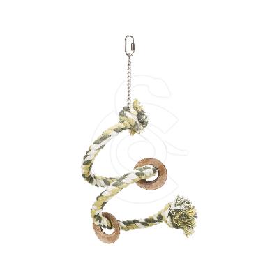 Jouet oiseau : perchoir spirale en corde