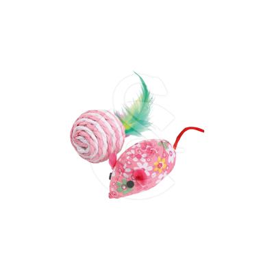 Jouet chat Wouapy : balle à plumes et souris